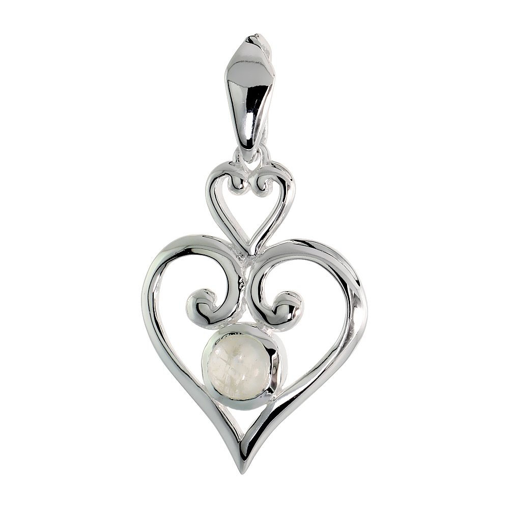 Sterling Silver Genuine Gemstone Scroll Heart Pendant Flawless Finish 1 1//4 inch Long