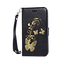 SZYT Phone Case for Samsung Galaxy Grand Prime LTE G530, Bronzing Butterfly with Transparent Card Slot Black