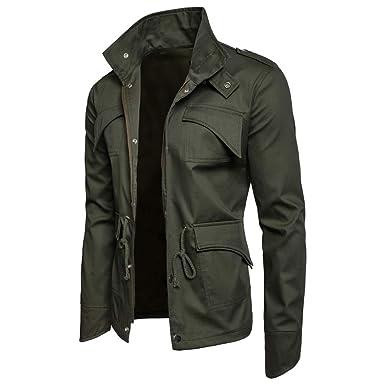 Longra Herren Jacke Klassisch Herbst Winterjacke Mantel Baumwolle Militär Jacken Übergangsjacke Freizeit Bomberjacke Pilotenjacke mit Reißverschluss