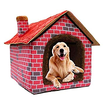 Image of Hanshu Warm Indoor Soft Kennel Pet Large Dog House Doggy Beds with Mat, Red Pet Supplies