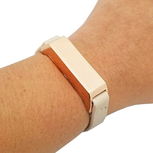 FUNKtional Wearables Fitbit Bracelet for Fitbit Flex 2 Fitness Trackers - The Kate Single-Strap Leather Fitbit Bracelet - Alternative to Tory Burch Fitbit (Beige/Rose Gold, ()