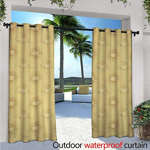 Beige Exterior/Outside Curtains W84 x L96 Pumpkins on Earth Background Halloween Harvest Seasonal Squash Farm Plant Illustration for Patio Light Block Heat Out Water Proof Drape Biege -