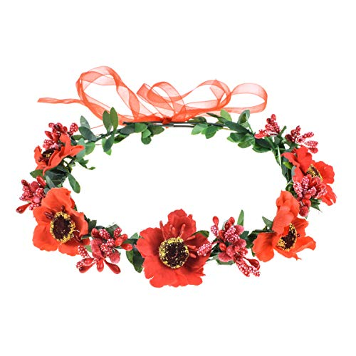 June Bloomy Rose Floral Crown Wreath Girls Flower Headband Boho Garland Halo Headpiece (Daisy Red)
