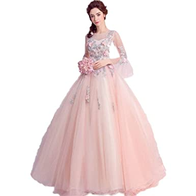 c547111ded2a LEJY Women s Pink Ball Gown Quinceanera Dresses with Flowerd Appliques  Beads Long Sleeve Prom Gowns Pink