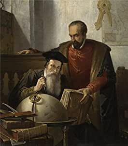 Perfect effect Canvas ,the Vivid Art Decorative Canvas Prints of oil painting 'Joseph Bellemans - Mercator and Ortelius, 19th century', 24x27 inch / 61x69 cm is best for Game Room gallery art and Home gallery art and Gifts
