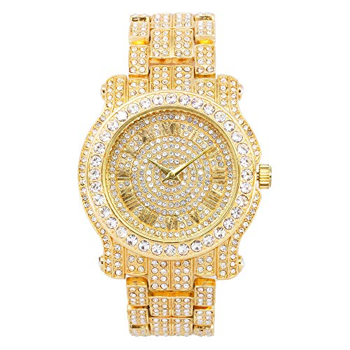 Men's 45mm Iced Out Diamond Watch with Cubic Zirconia Crystals and Bling-ed Out Adjustable Metal Strap - Quartz Movement - Inspired by Hip Hop (Available in Gold, Silver and Bracelet Sets)