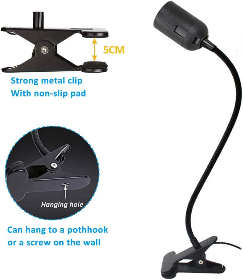 Clip on Light Bulb Holder E27 with UK Plug 360/° Flexible Clip Lamp Holder Screw for Office//Craft//Plant//Aquarium//Accent Lighting Black, No Bulb Clamp Lamp Holder ES with Switch 1.5M Cable