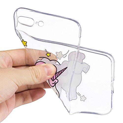 Coque iPhone 8 Plus licorne timide Premium Gel TPU Souple Silicone Transparent Clair Bumper Protection Housse Arrière Étui Pour Apple iPhone 8 Plus + Deux cadeau