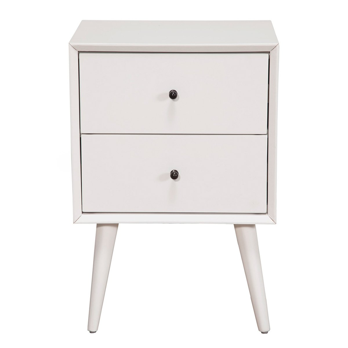 Alpine Furniture 966-02 Flynn Mid Century Modern 2 Drawer Nightstand, 15