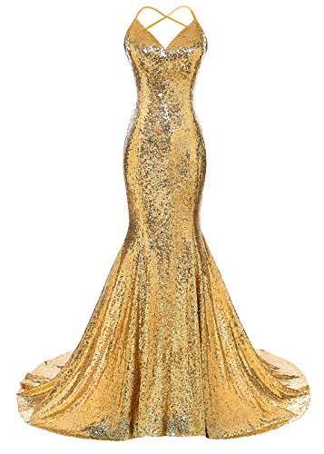 DYS Women's Sequins Mermaid Prom Dress Spaghetti Straps V Neck Backless Gowns Bright Gold Custom ()