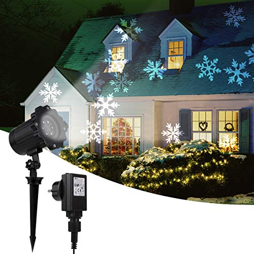 GreenClick Projector Lights Outdoor Waterproof IP65 Decoration Spotlights Moving Snowflake Lamp LED Outdoor Landscape Projector For Halloween Wedding Party Festival Holiday etc.