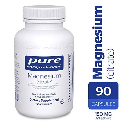 Magnesium Citrate 90 Capsules - Pure Encapsulations - Magnesium (Citrate) - Hypoallergenic Supplement Supports Nutrient Utilization and Physiological Functions* - 90 Capsules