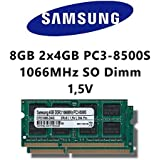 Samsung 8 GB (2 x 4 GB) Dual-channel Kit DDR3 1066 mhz (PC3 8500S) SO DIMM de memoria RAM