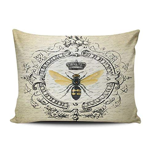 (Salleing Custom Hot Romantic Modern Vintage French Queen Bee Decorative Pillowcase Pillowslip Throw Pillow Case Cover Zippered One Side Printed 12x16 Inches)