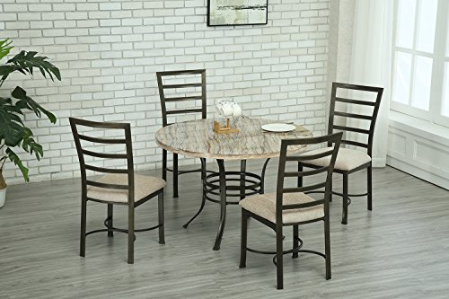 Bestmart Inc 5Pcs Round Dining Table Set Metal Kitchen Pub Breakfast Table 4 Upholstered Chairs (Table Breakfast Pub)
