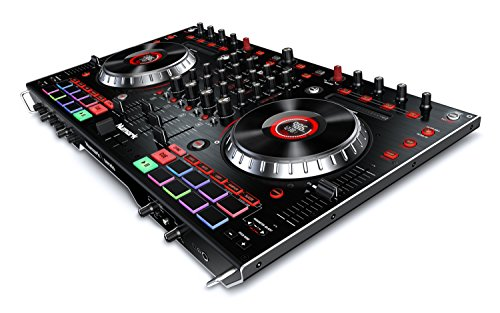 Numark NS6II – Controlador de DJ de 4 Canales para Serato DJ (Incluido), Dos Puertos USB para Transiciones entre DJs, Mezclador Digital Independiente, Jog Wheels de 6 Pulgadas y Performance Pads MPC