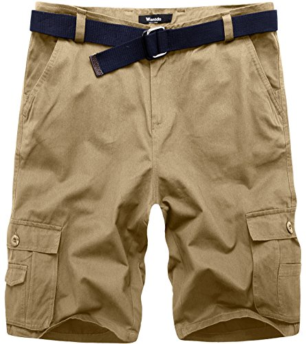Wantdo Men's Belted Multi Pockets Loose Fit Relaxed Young Cargo Shorts 36 Khaki