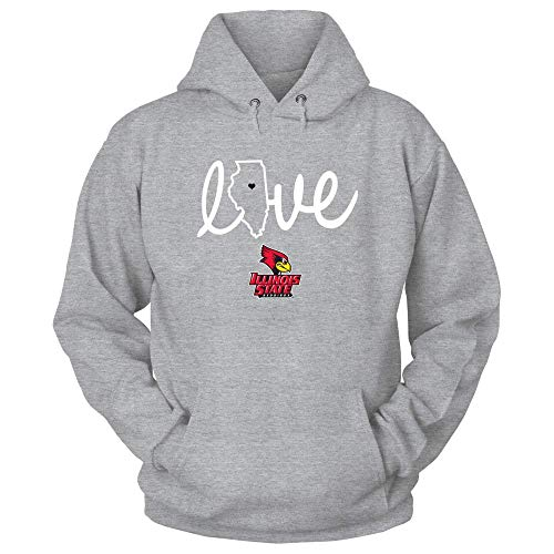 FanPrint Official Sports Apparel Unisex Hooded Sweatshirt Illinois State Redbirds State Love - Red Shirt, Size XL, ()