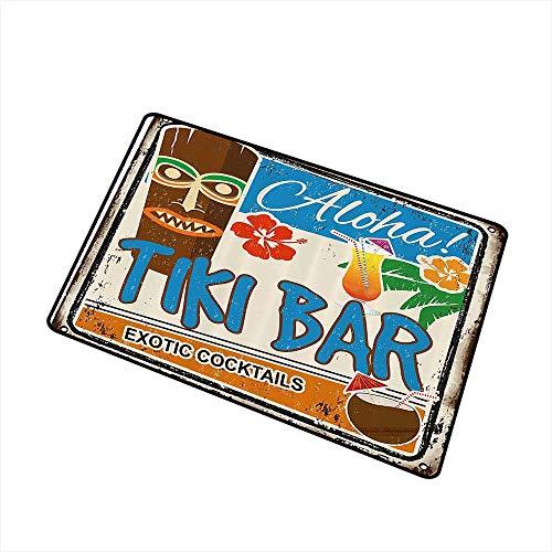 (Mdxizc Thin Door mat Tiki Bar Decor Rusty Vintage Sign Aloha Exotic Cocktails Coconut Drink Antique Nostalgic W30 xL39 Country Home Decor Multicolor)