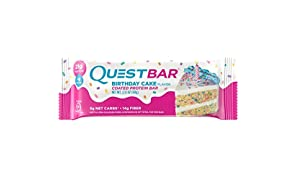 Quest Nutrition Protein Bar, Birthday Cake, 21g Protein, 5g Net Carbs, 180 Cals, 2.1oz Bar, 12 Count, High Protein, Low Carb, Gluten Free, Soy Free
