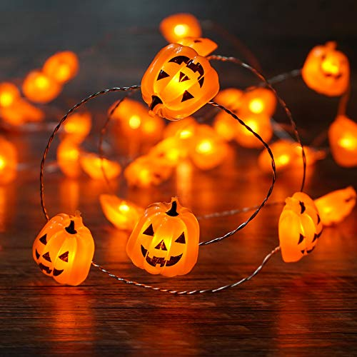 BOHON Pumpkin String Lights 10ft 40 LEDs Halloween Lights Battery Powered with Remote for Thanksgiving Party Indoor Fall Outdoor Halloween Decoration Jack-o-Lantern ()