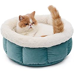 Kimol Warm Cat Bed Luxury Pet Cushion Cat Cave Slepping Beds for Large Cats, Puppy (Color : Green)