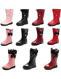 Girl's Waterproof Lace Bowknot Side Zipper Fur Lined Tall Winter Boots (Toddler/Little Kid/Big Kid) Dark Red US...