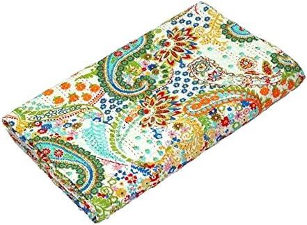 Indian Handmade Paisley Print Kantha Bedspread Queen Size Cotton Blanket