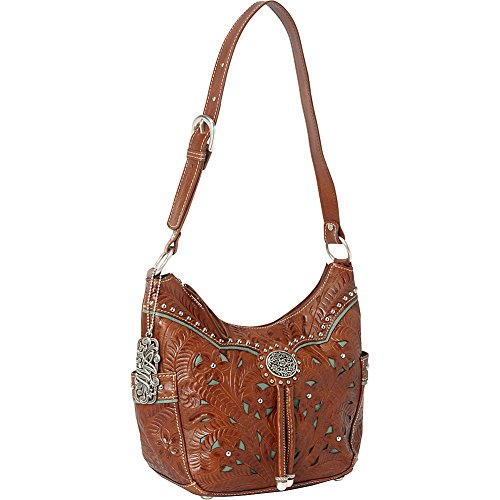 American West Lady Lace Zip Top Everyday Shoulder Bag,Mocha Tan/Turquoise,One Size by American West