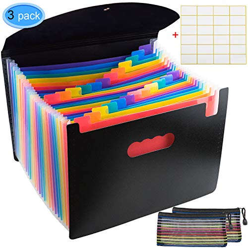 (24 Pocket Expanding File Folder A4 Letter Size Accordion File Organizer Desk Document Storage Box Plastic Filing Wallet Rainbow Color with Lid by EAONE, 2 Free Zipper Mesh Pouch and 1 Label Paper)