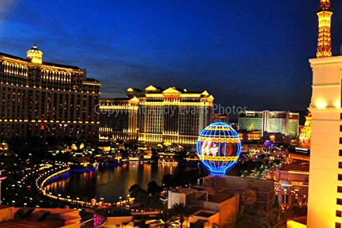 """Las Vegas Photograph an 18""""x12"""" photographic print of the Bellagio and Cesar"""