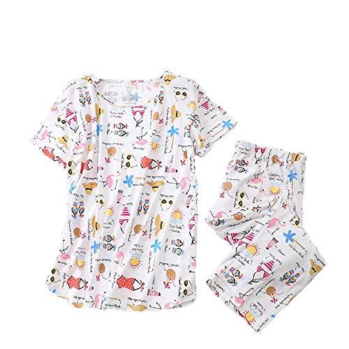 - Women's Pajama Sets Capri Pants with Short Tops Cotton Sleepwear Ladies Sleep Sets SY296-Sunbathe-3XL