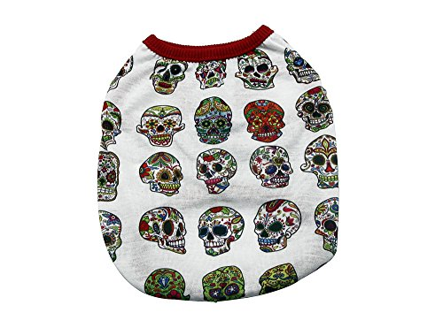 YAODHAOD Dog Fashion T-Shirt, Pattern Skull Vest, Spring and Summer Pet Clothes Puppy Cat Pet Clothes(M, -