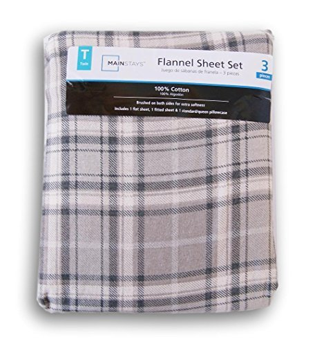 Neutral Gray Plaid Print Flannel Sheet Set - - Beds Twin Mart Wal