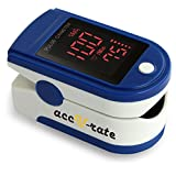 Acc U Rate® Pro Series CMS 500DL Fingertip Pulse Oximeter Blood Oxygen Saturation Monitor with silicon cover, batteries and lanyard (Sapphire Blue)
