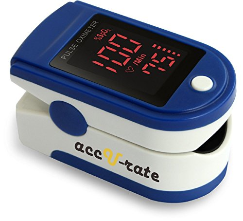 Acc U Rate Pro Series CMS 500DL Fingertip Pulse Oximeter Blood Oxygen Saturation Monitor with silicon cover, batteries and lanyard (Majestic Blue) (Finger Oxy Meter compare prices)