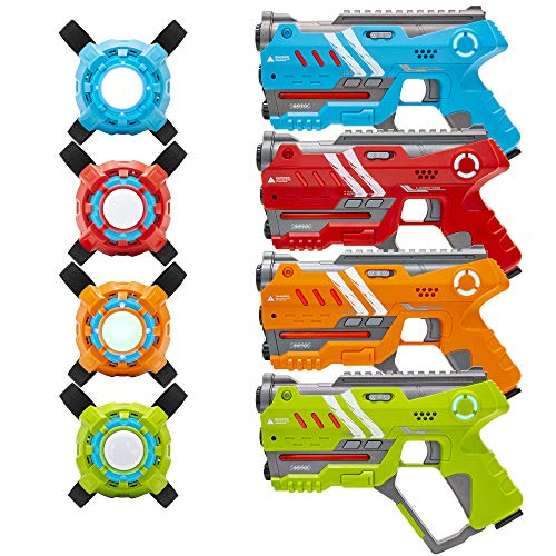 Best Choice Products Set of 4 Laser Tag Blasters with Vests and Backwards Compatible, Multicolor