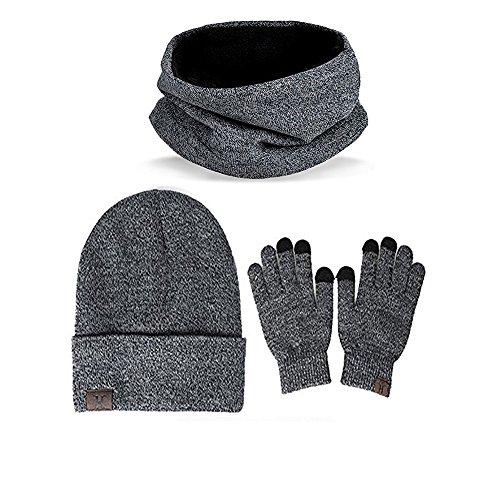 WOWENWO Hat Scarf Touch Screen Gloves Unisex Winter Warm Knitted Set for Men Women