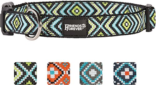 Friends Forever Double Layer Woven Square Pattern Dog Collar by, Green Medium 14-20