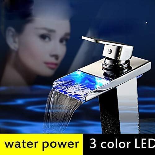 温度センサー付きの高品質LEDランプ浴室の洗面器の蛇口水力発電の滝浴室の流し蛇口洗面器の蛇口真鍮の金具