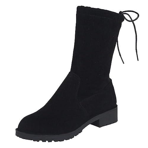 Botas para Mujer,Mujeres Tobillo Corto Botines Medio Tubo Ante Martin Botas Zapatos con Cordones