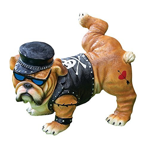 Collections Etc Tough Guy Biker Bulldog Peeing Dog Statue Yard Lawn Ornament by Collections Etc