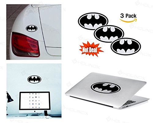PACK of 3 Batman Sticker Decal for Macbook, Laptop ,Car Window, Laptop, Motorcycle, Walls, Mirror and More. (Batman 2nd Skin Costume)