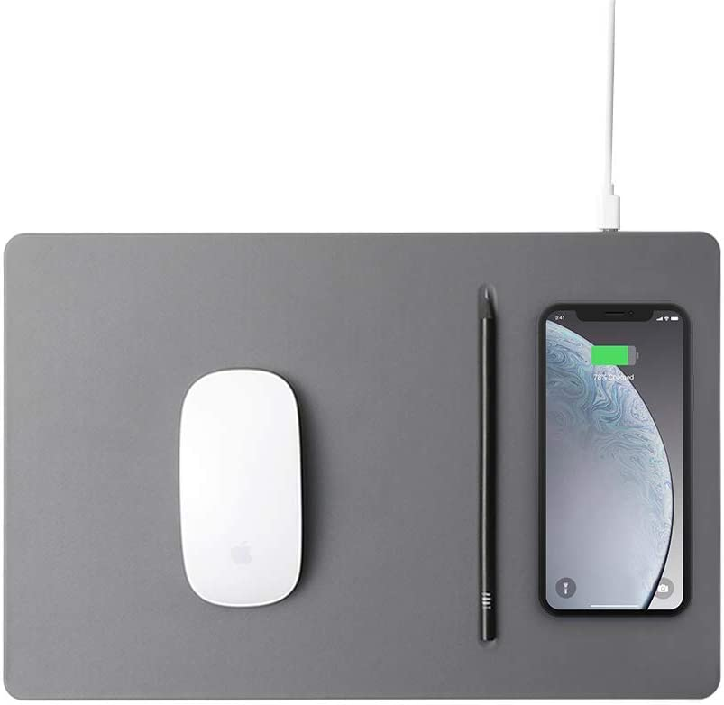 POUT HANDS3 PRO Qi Fast Wireless Charging Charger Mouse Pad Mat for iPhone Xs Max/XR/X/XS/8/8 Plus Samsung Galaxy S10/S9/S8 Plus Note 9/8 (Dust Gray)