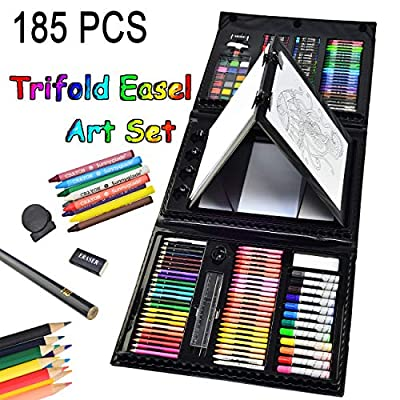 Sunnyglade 185 Pieces Double Sided Trifold Easel Art Set, Drawing Art Box with Oil Pastels, Crayons, Colored Pencils, Markers, Paint Brush, Watercolor Cakes, Sketch Pad