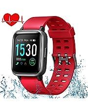 ONSON Smartwatch,Fitness Tracker Wasserdicht IP68 Fitness Armband Uhr für Damen Herren Kinder, Sportuhr mit Schrittzähler,Pulsuhr,1.3-Zoll Sportuhren für iOS Android Handy(Rot)