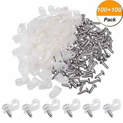 Hicarer 100 Pack 1/4 Inch R-type Clip Cable Fastener Wire Clamp Nylon Screw Mounting Electrical Grip Wire Clips with 100 Pack Screws for Wire -