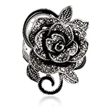 Blowin 2016 Newest Womens Ladies Gothic Vintage Stainless Steel Big Rose Flower Band Ring