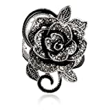 #8: Blowin Newest Womens Ladies Gothic Vintage Stainless Steel Big Rose Flower Band Ring