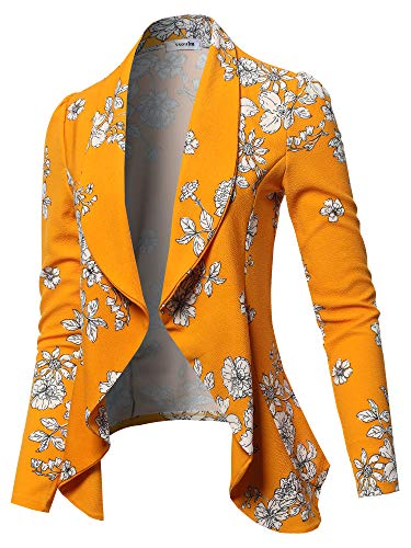 SSOULM Women's Long Sleeve Classic Draped Open Front Lightweight Blazer FLORALMUSTARD 3XL